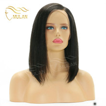 China supplier wholesale top quality remy human hair side part lace front wig for black women