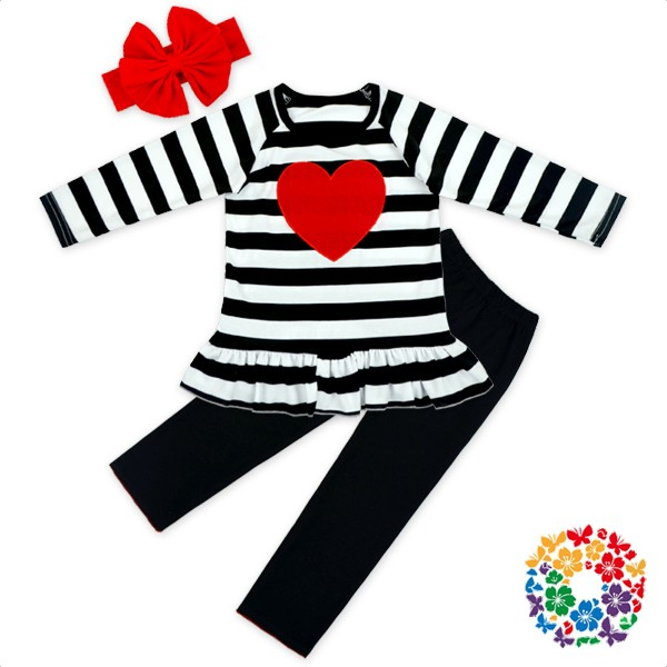 15f9cc10 wide black white stripe red heart long sleeve ruffle shirt pant valentine  baby girl boutique clothing