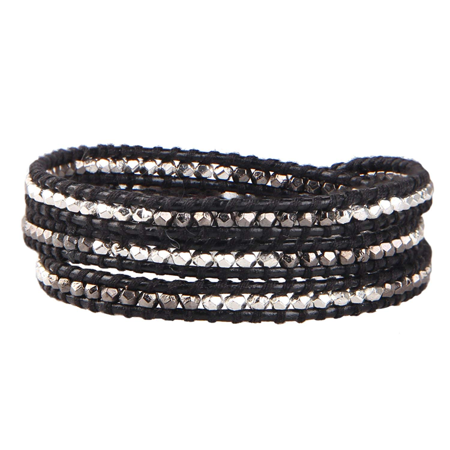 KELITCH Natural Blue Crystal Pearl Beads Mix Woven 3 Wrap Bracelet Handmade Fashion women Jewelry (Black)