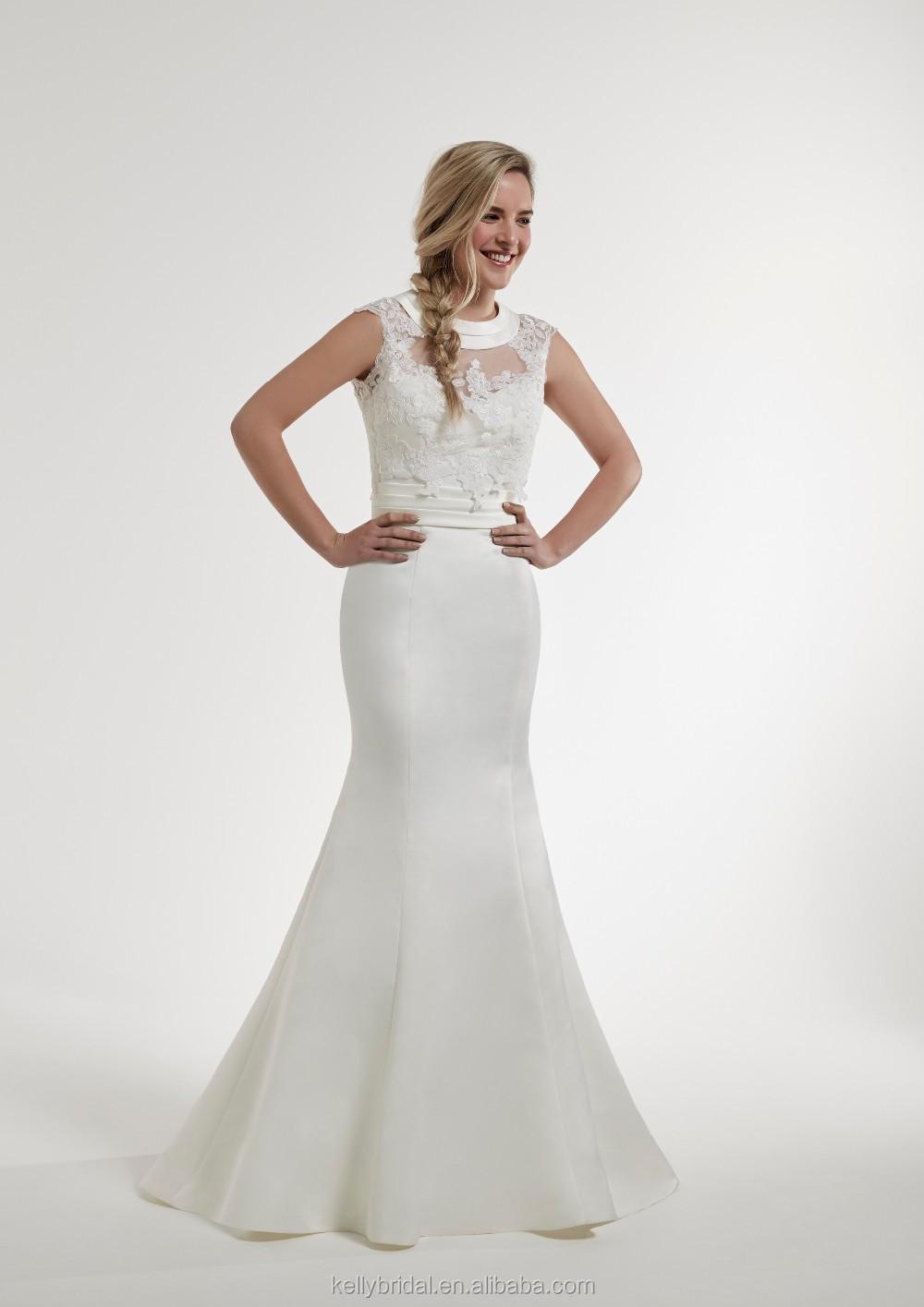 Zm16133 2016 Fashion Satin Wedding Dress Mermaid Tinggi Leher Gaun