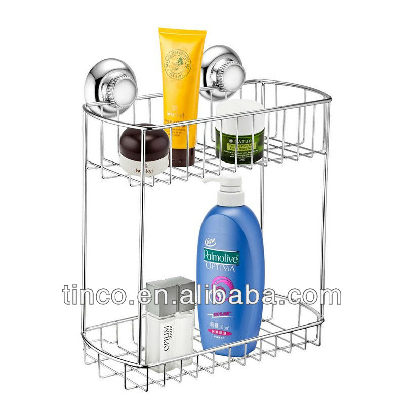 Two Tiers Stainless Steel Suction Shower Rack