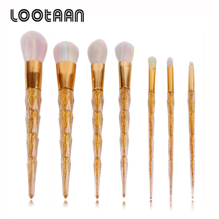 Cosmetics Brands Beauty Tools 7Pcs Professional Gold Glitter Handle Makeup Brush Set Private Label