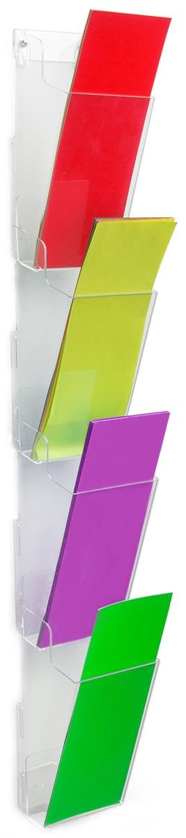 "Wall Mounted Brochure Holder for 4x9"" Pamphlets, Tiered With 4 Pockets (Clear Acrylic)"