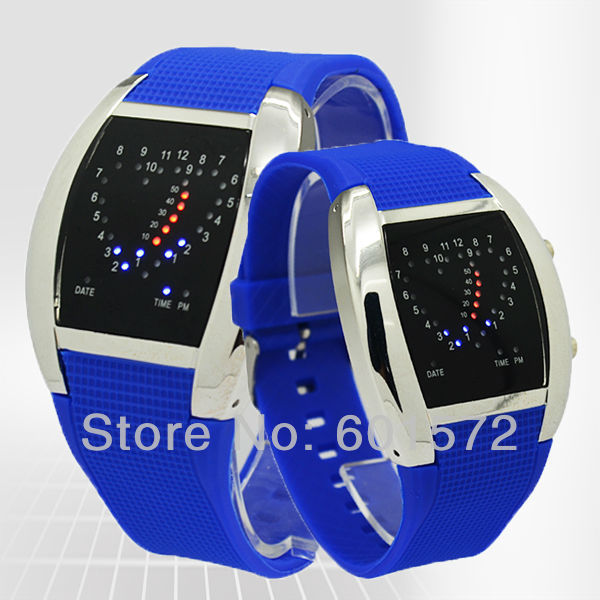 Promotion!PU leather band,blue/white led light cheapest price new face army style heart aviation watch