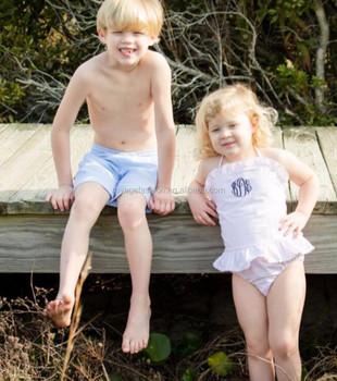 76f8b00f49 Wholesale Monogrammed Seersucker Swimsuits Baby boys Swim Trunks And Girls  Swimwear