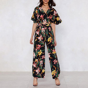 Factory custom made crop top pants ,print floral ladies fashion jumpsuit