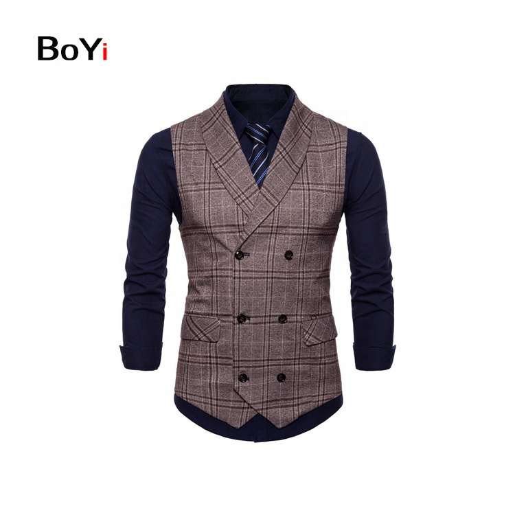 New Style Fashion design woven vests Grid Waistcoat Designs For Men
