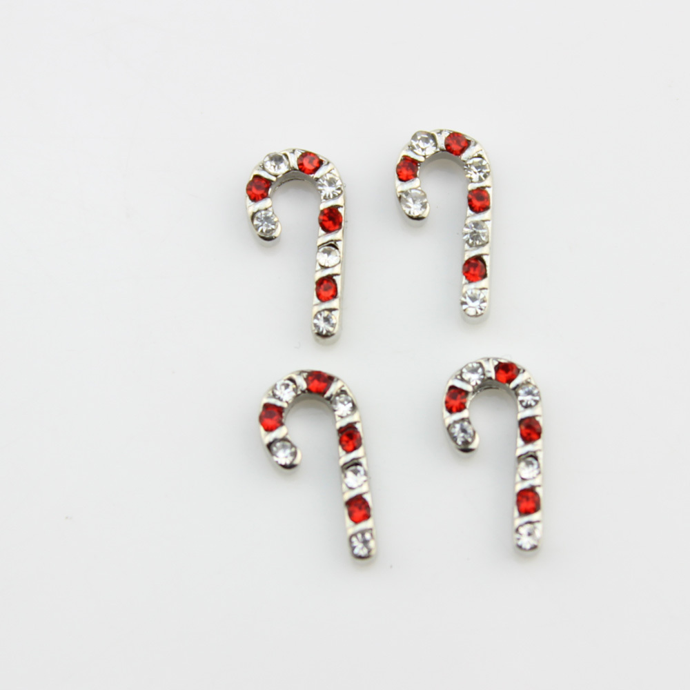 Candy Cane Floating Charms With Rhinestone For Christmas Charms For Living Glass Floating Memory Locket 20pcs