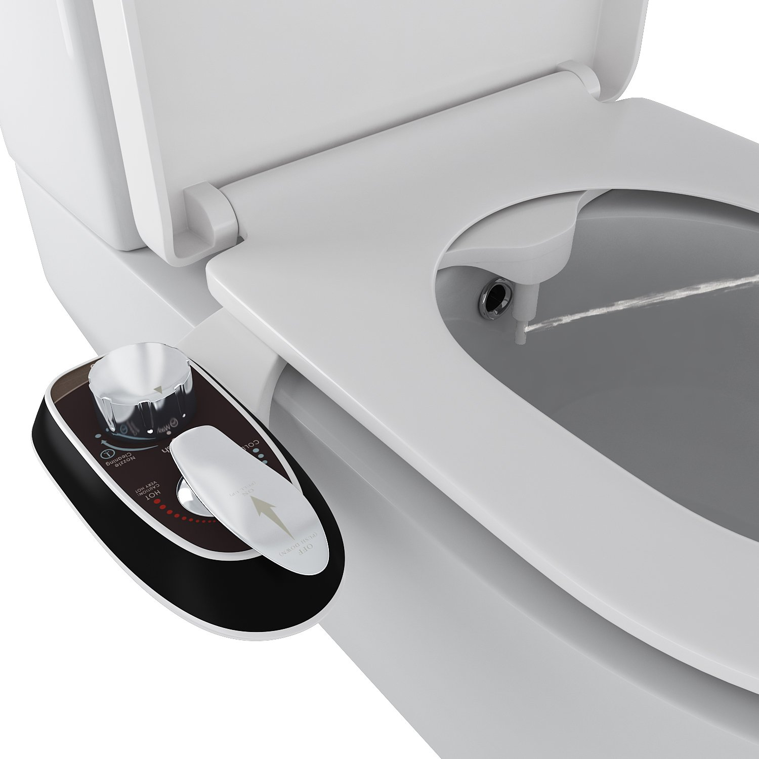 Homdox Adjustable Toilet Seat Attachment - Non-Electric Bidet - Dual Single Nozzle for Front & Rear(Male & Female) - Self Cleaning - Water Pressure Control - Easy Installation (Single Nozzle - Black)