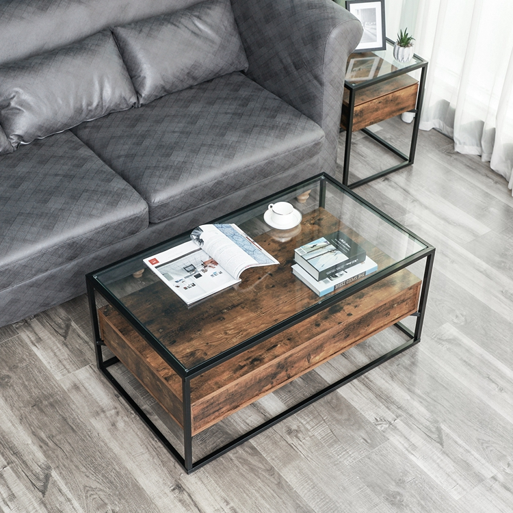 Vasagle Home Living Room Furniture Modern Antique Rustic Vintage Industrial Tempered Glass Wood Center Coffee Table With Storage Buy Coffee Table Tempered Glass Coffee Table Industrial Coffee Table Product On Alibaba Com