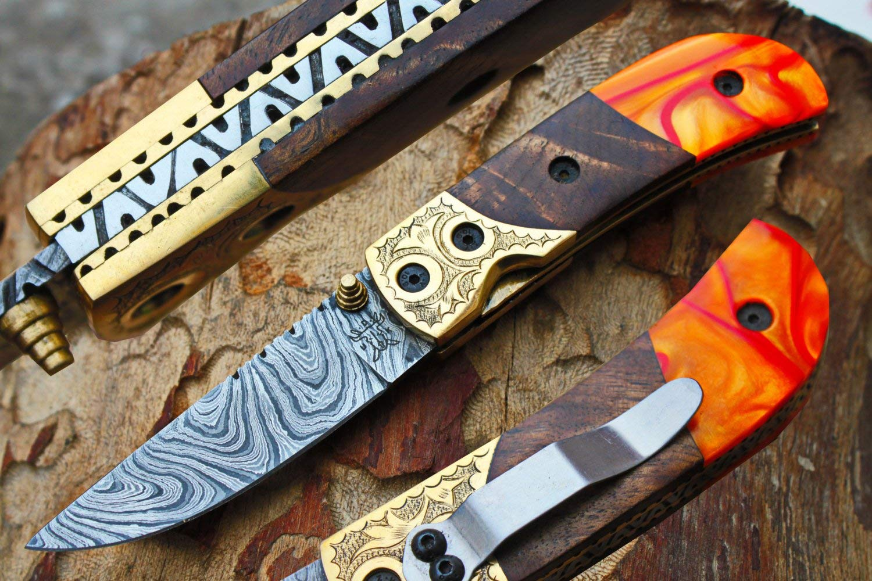 "Damascus 3.0"" Blade Custom Folding knife w/Brass Engraved Bolsters, Clip, Custom File-Work,Liner Lock,Dark Walnut Wood & Sheath UDK-A-D-F-69"