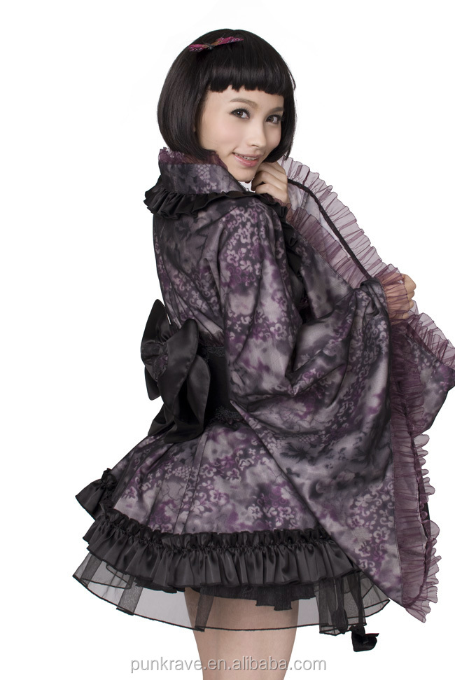 made in china LQ-039 Wholesale Lolita kimono kaftan in black and violet from Pyon Pyon