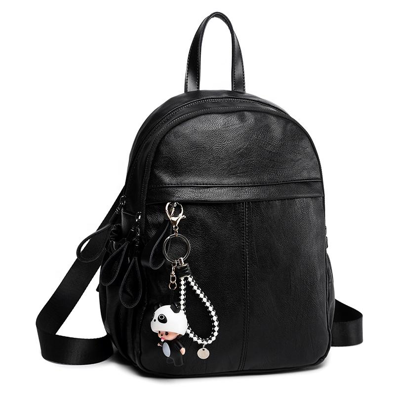 MIYIN Doppels ch ulter tasche Koreanische Version 2020 Neue Mode Studenten tasche aus weichem Leder Freizeit Einfacher Reiß verschluss Rucksack Damen tasche
