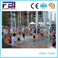 Large movie playing children water fountain modern outdoor dry fountains
