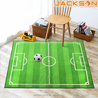 Green Field Football Printed Sports Kids Area Rug