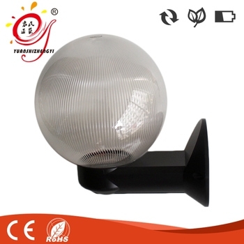 200mm Clear Prismatic Plastic Cover Outdoor Wall Globe Light