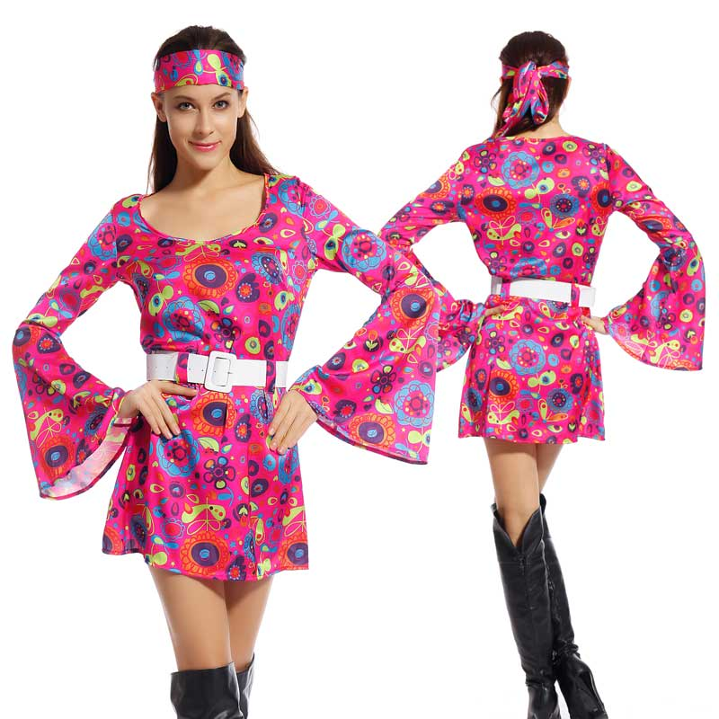 Get Quotations · Adult 60s 70s Groovy Lady Hippy Flower Power Womens Ladies  Fancy Dress Costume 541cdd21e9