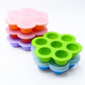 Amazon FDA Approved 7 Holes Silicone Egg Bites Mold Baby Food Storage Container Box With Lid Cake Mould Ice Trays