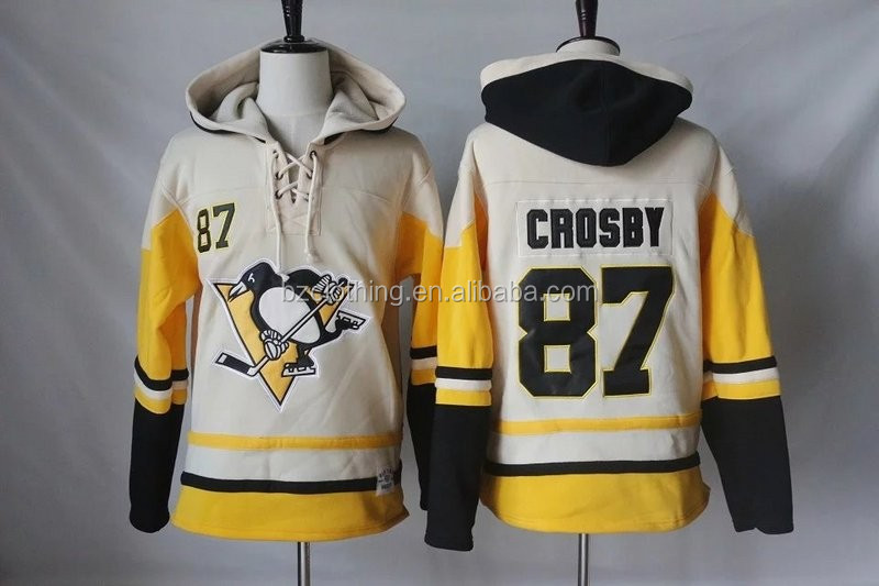 Pittsburgh Penguins Sidney Crosby #87 Cream NHL Hockey Hoodies