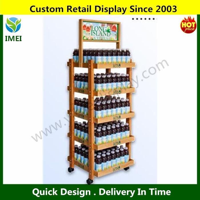 Soda Bottles Cans Rack Display Beer Retail Racks Wine Wood Ym07206