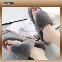 Sheepskin Fur Slippers Flat Shoes Warm Fluffy Comfy Furry Sandals