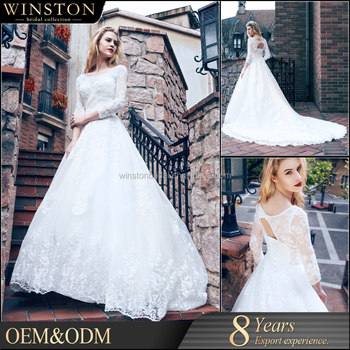 Dubai Muslim Bridal Gown 34 Long Sleeves Lace Wedding Dress Patterns 2016 Buy 34 Long Sleeves Lace Wedding Dress Patternsdubai Muslim Wedding