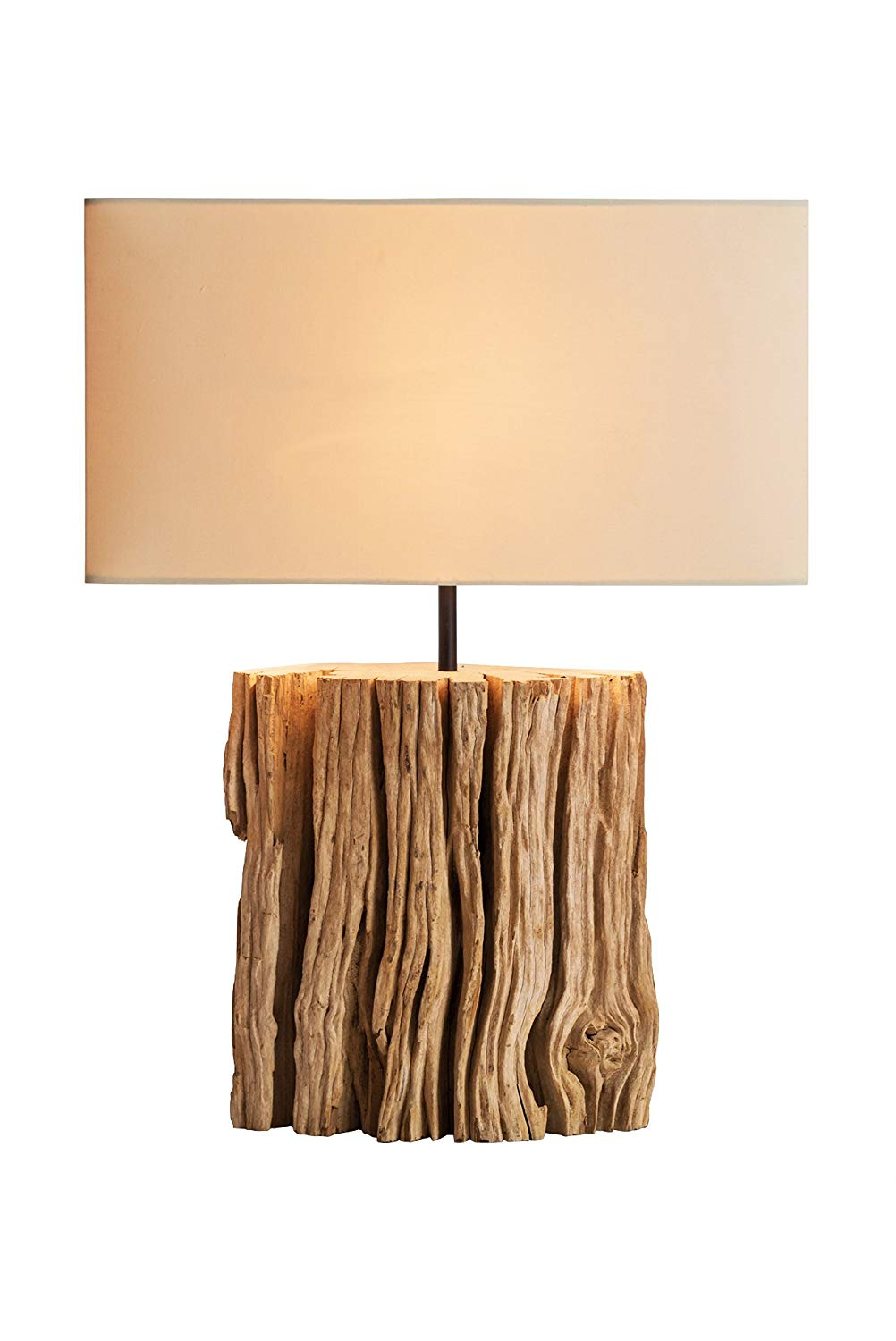 O'THENTIQUE NPD Driftwood Bark Table Lamp | Rustic Salvaged Natural Wood | Brown Shade Perfect as Entry Table Lamp, Sofa Table Lamp for Beach House, Cottage, Cabin, Bedroom, Living Room Decor