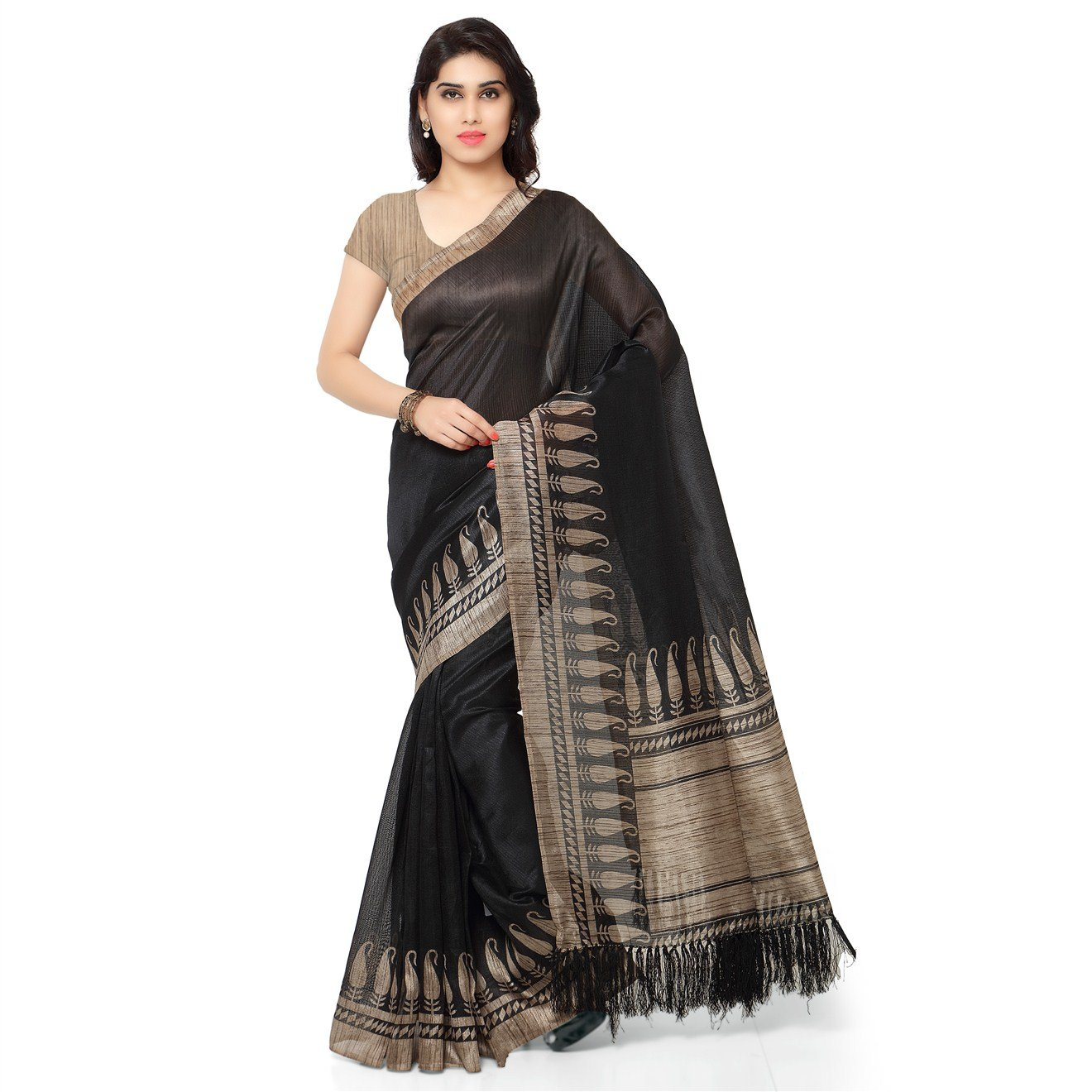 Rajnandini Women's Ethnic Wear Tussar Art Silk Printed Saree