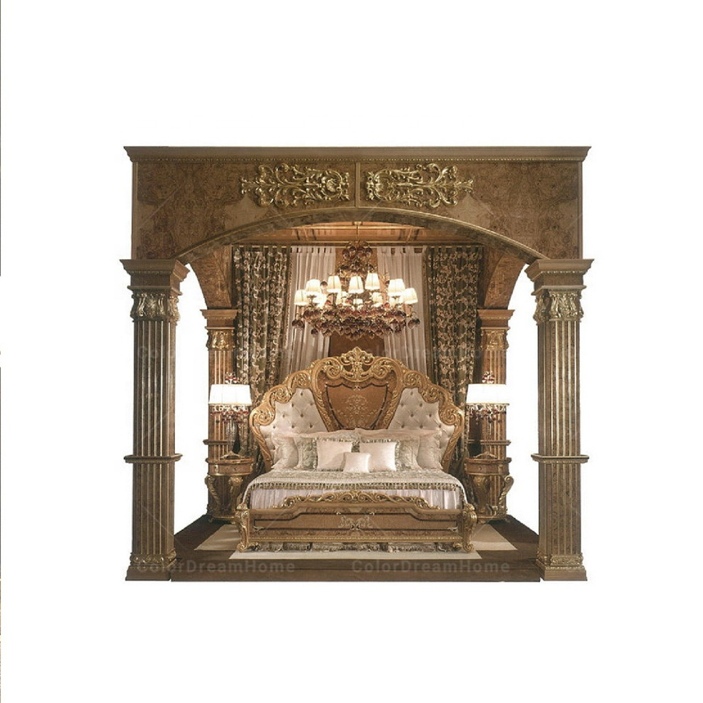 Royal Luxury Medieval Castle Bedroom Furniture Set King Size Bed With Four  Pillars