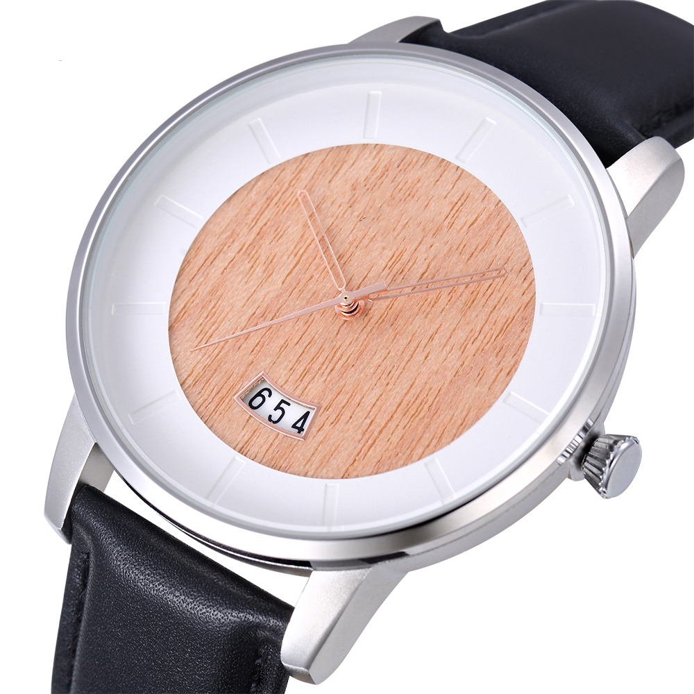 Mens Gepersonaliseerde Horloges Hout Dial Stainless Steel Case Horloge Lederen Band Horloge