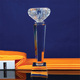 New Design Glass Trophy Custom Logo Crystal Award Cup