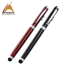 Cheap Promotional 4 in 1 metal multifunction pen with red laser pointer led light high quality touch screen stylus ballpoint pen