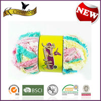 red/yellow/green blend color tape fancy yarn with good quality at cheap price