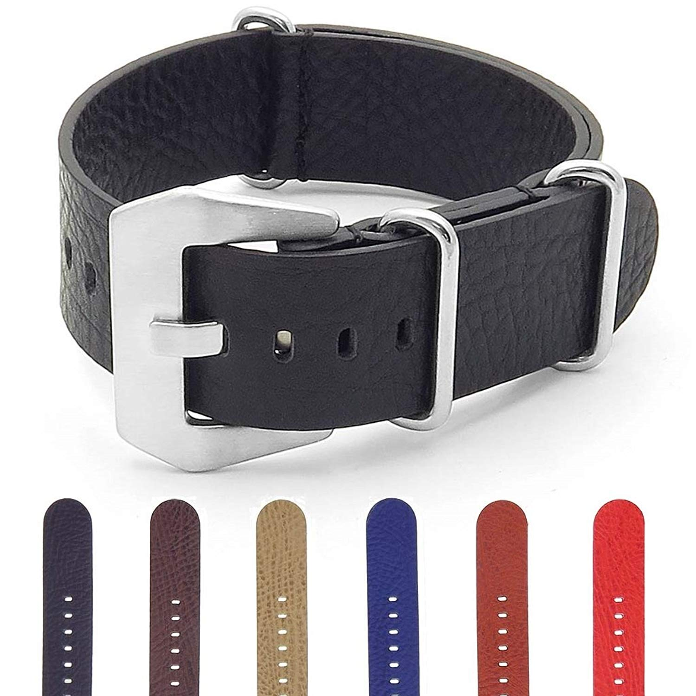 DASSARI Stealth Carbon Fiber Strap Leather Watch Band w/Matte Black Hardware