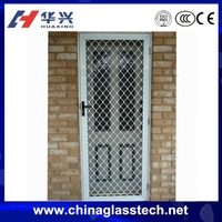 aluminum frame tempered glass security steel mesh screen door