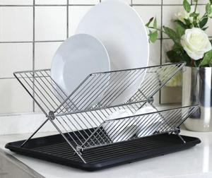 Chrome-plated Steel Foldable X Shape 2-tier Shelf Small Dish Drainers with Drainboard Dish Drying Rack
