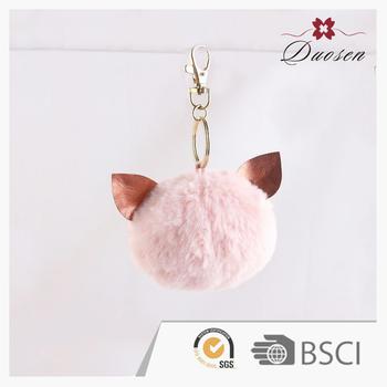 Wholesale fashion pink fluffy keyring rabbit fur ball keychain for handbag 97e67fab77c8