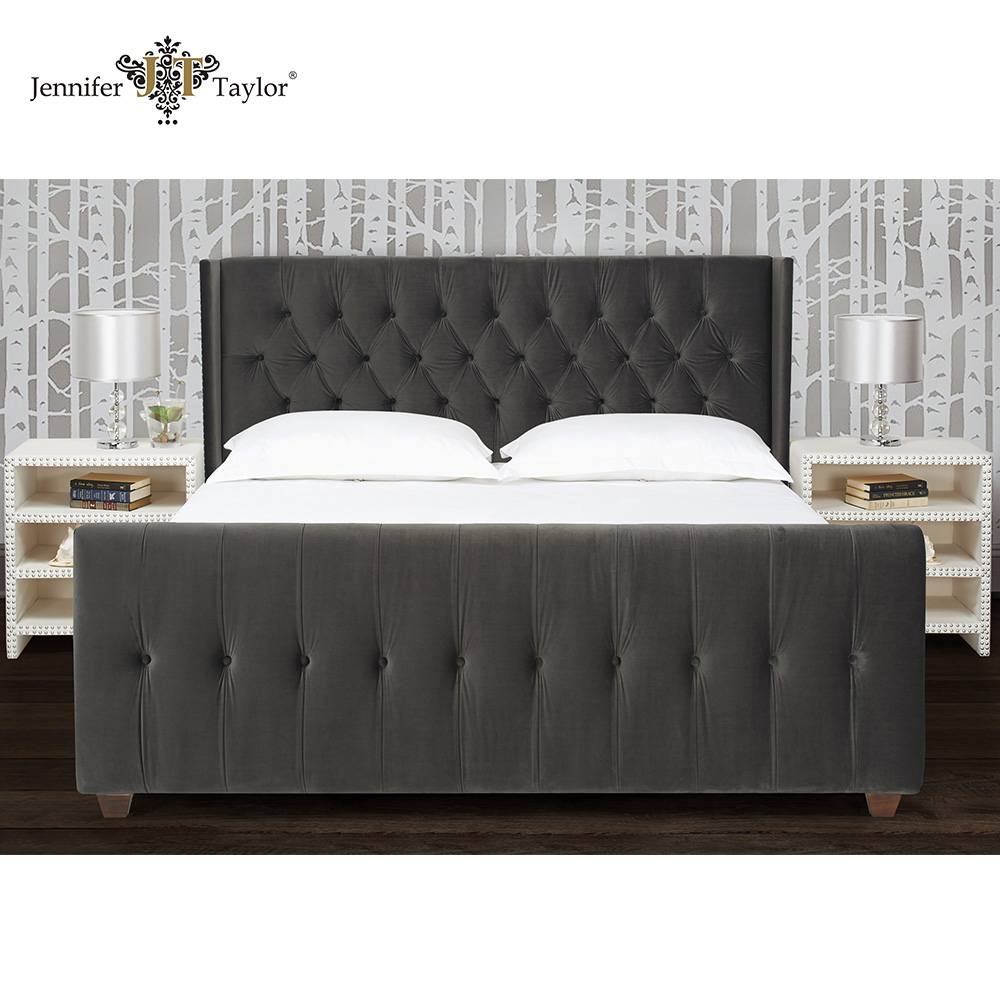 Bedroom furniture king size headboard set, American style solid wood bed frame with fabric upholstery