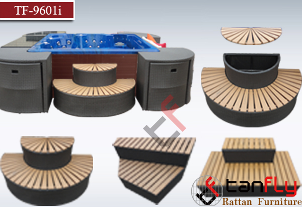 functional spa furniture all weather wicker wooden and rattan stairs with cabinet