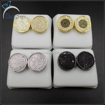 0a75fe9a9 Cheap Hip Hop 3D Circle CZ Bling Bling Micro Pave Earrings. View larger  image
