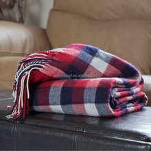100 acrylic blanket, plaid woven wholesale throw blanket