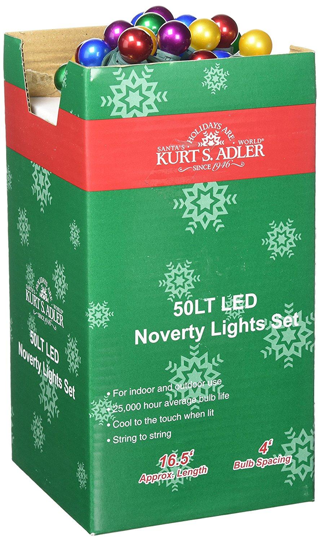 Kurt Adler UL 50-Light LED Pearlized Novelty Light Set, Multi-Colored
