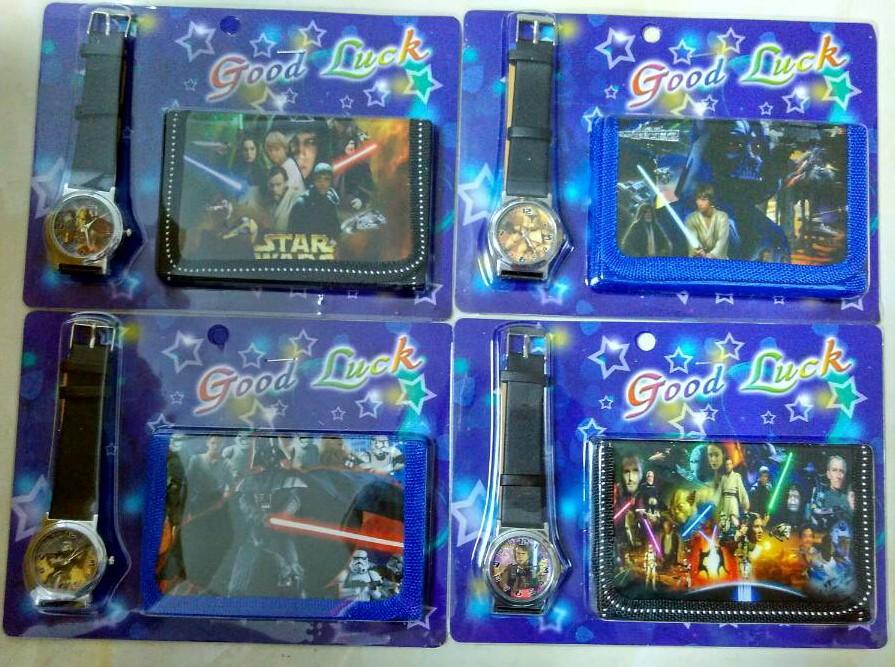 Free shipping 1pcs/lot Star Wars kids Sets watch and wallet purse wrist quartz Christmas Children gift Cartoon watches