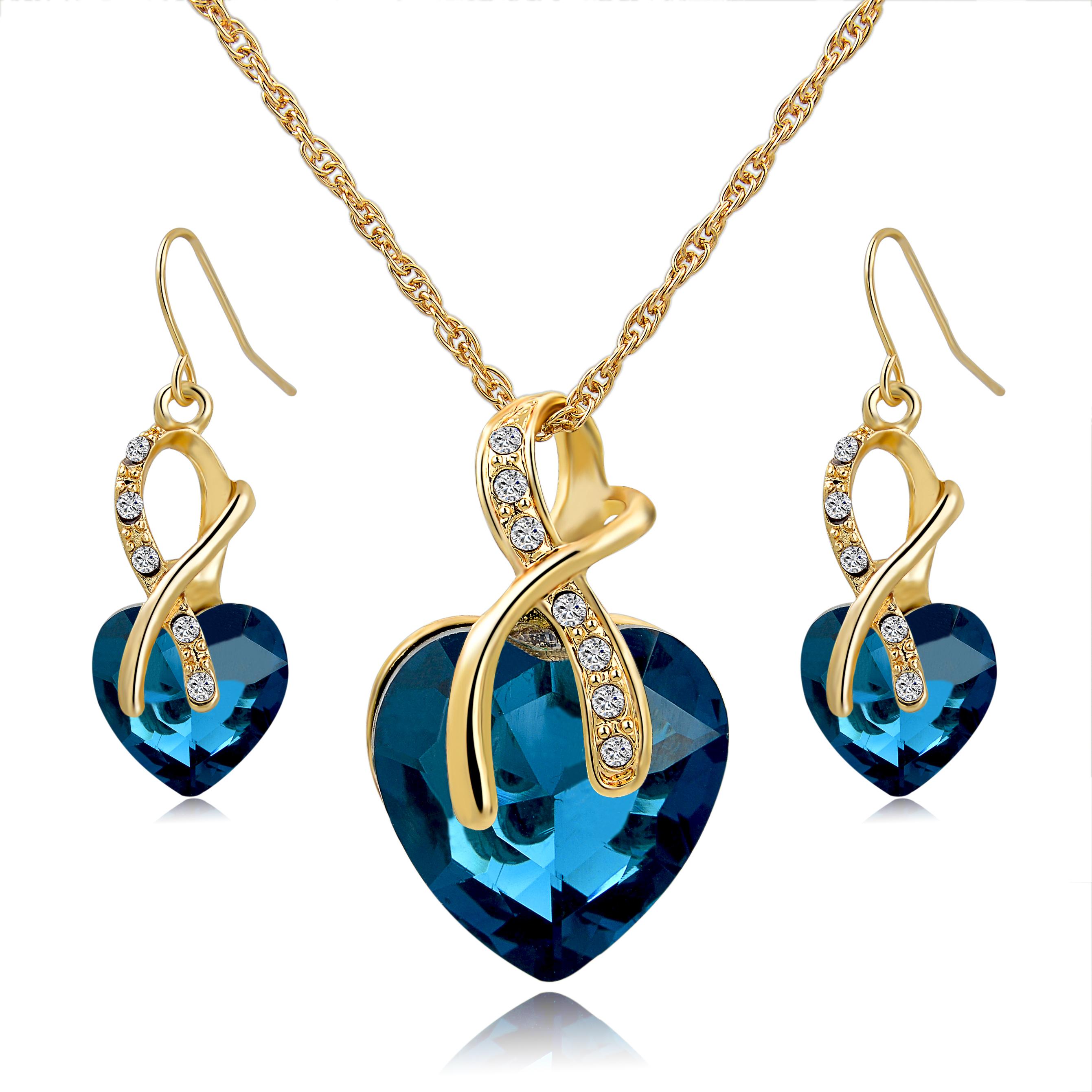 New Ensemble féminine  plaqué or chaîne collier en cristal bijoux de mariée