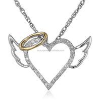 Sterling Silver and 14k Yellow Gold Diamond Winged Halo Heart Pendant Necklace