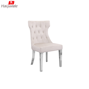 Fabric classical luxurious stainless steel leg high back dining chair