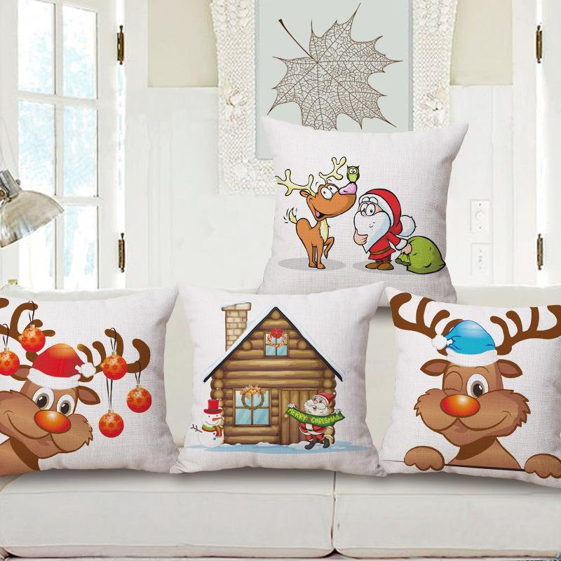 Free Shipping Simple Cartoon Father Christmas Cotton Linen Fabric Decorative Cushion 45cm Hot Sale New Home Fashion Gift Pillow