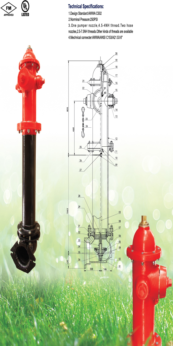 Fm Ul Approved Fire Hydrant Dn150 Inlet Used Outdoor