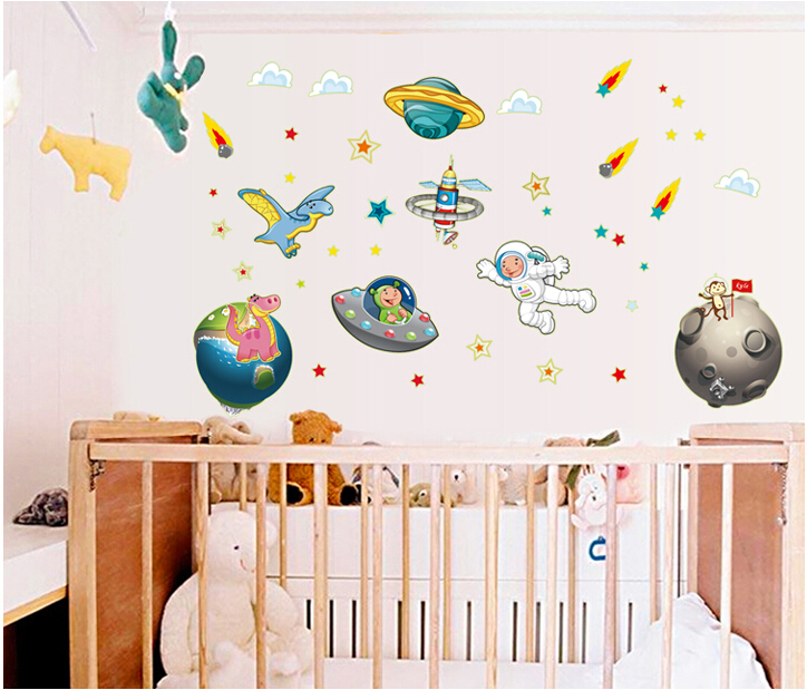 ABQ9611 Travel In Space Kids Stickers Car Sticker Cartoon Wall Sticker Part 36
