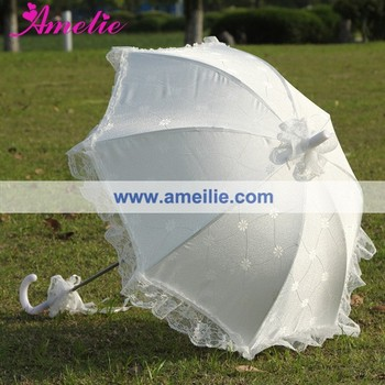 New Coming Flower Fabric Wedding Lace Umbrella